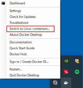 Linuxコンテナに切替