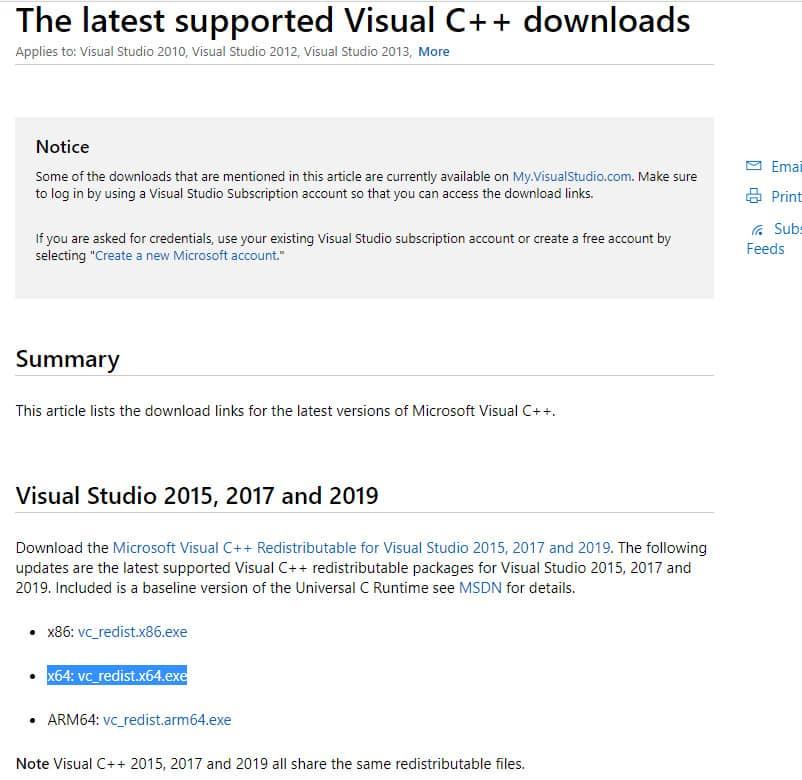 Visual Studio Runtimeダウンロード